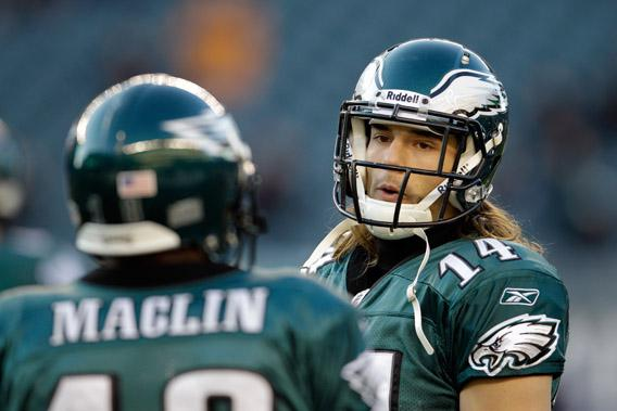 Riley Cooper #14 of the Philadelphia Eagles warms up before the start of the Eagles game against the New York Jets.