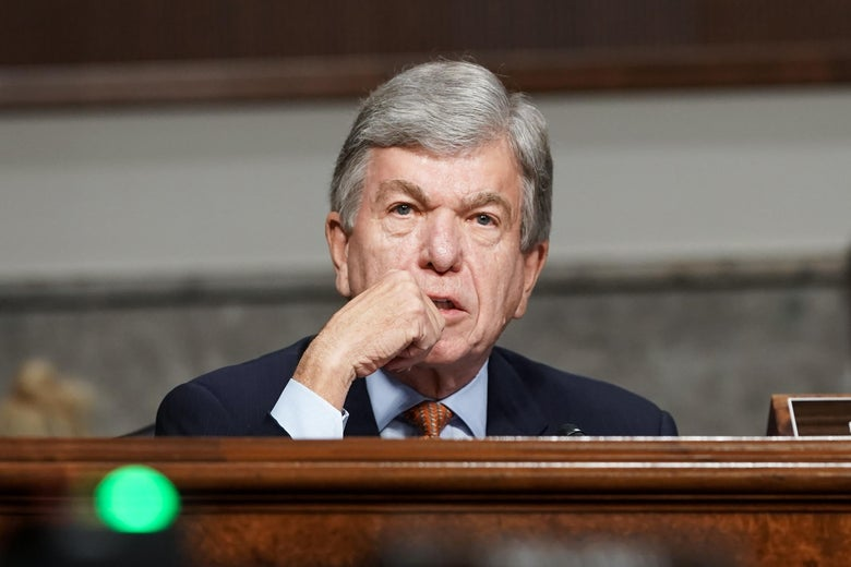 Sen. Roy Blunt (R-MO) asks questions during a Senate Homeland Security and Governmental Affairs & Senate Rules and Administration joint hearing to discuss the Jan. 6 attack on the U.S. Capitol on March 3, 2021 in Washington, D.C.