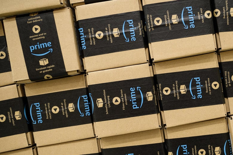 PETERBOROUGH, ENGLAND - NOVEMBER 15:  A close-up of a packaged Amazon Prime item in the Amazon Fulfilment centre on November 15, 2017 in Peterborough, England.  A report in the US has suggested that over half of all online purchases this Christmas will be made with Amazon.  (Photo by Leon Neal/Getty Images)