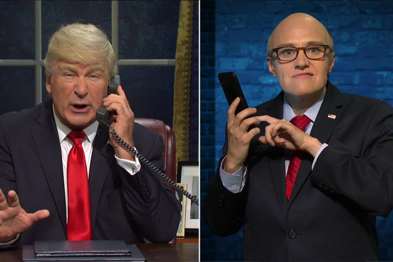Alec Baldwin, as Donald Trump, talks to Kate McKinnon as Rudy Giuliani, in a split screen image from Saturday Night Live.
