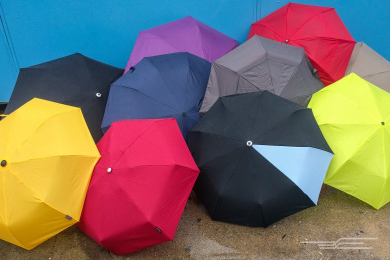 an assortment of opened umbrellas