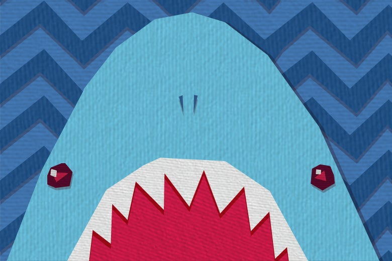 Illustration of a shark with its jaws wide open.