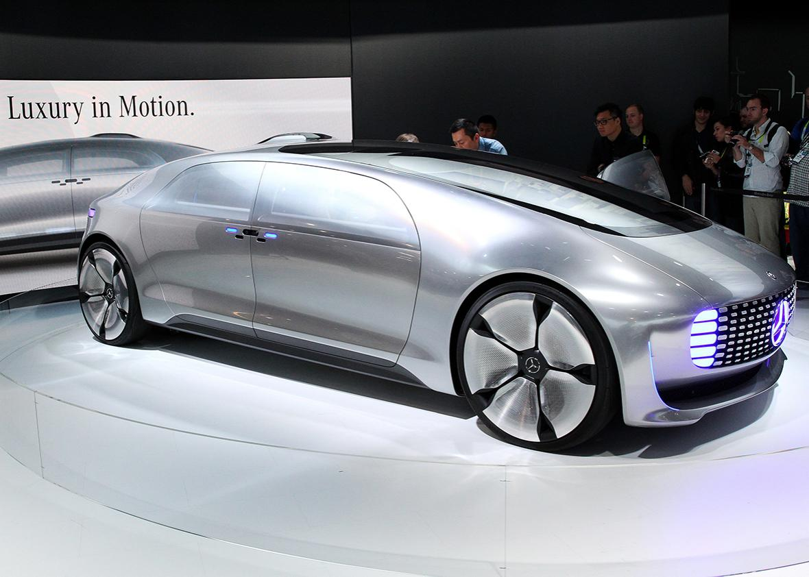 The Mercedes-Benz F015 Luxury in Motion concept car, a self-driving, hydrogen-electric plug-in hybrid, makes its debut at the 2015 International Consumer Electronics Show.