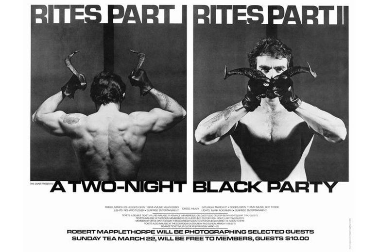 "Flyer reads ""BITES PART I"" and ""BITES PART II"" over photos of a topless man holding devil horns, and below: ""A TWO-NIGHT BLACK PARTY."""