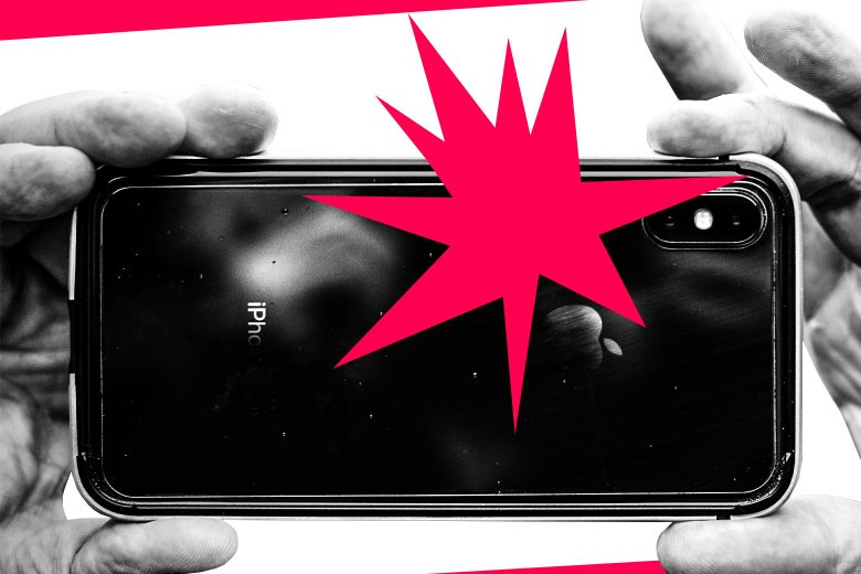 Two hands are shown taking a photo with an iPhone, with a red flash seen.