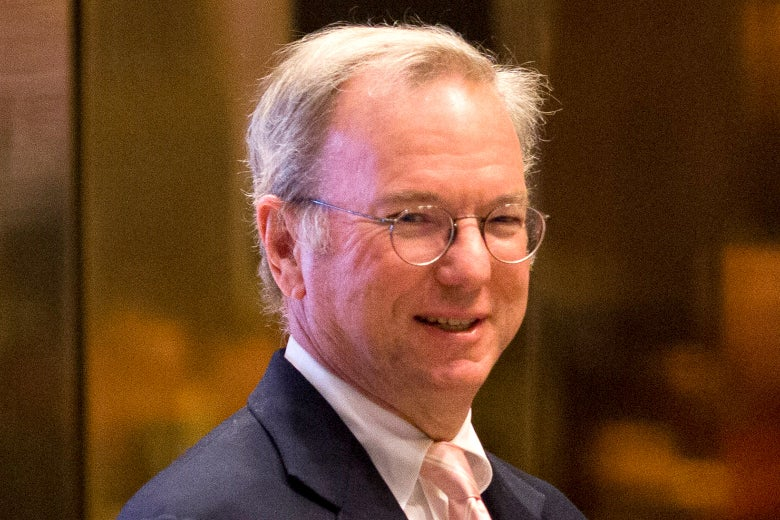 Eric Schmidt arrives in the lobby of Trump Tower in New York on Jan. 12, 2017.