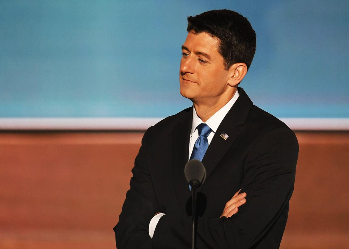 Speaker of the US House of Representatives, Paul Ryan checks out the stage before his speech to delegates on the second day of the Republican National Convention at the Quicken Loans Arena in Cleveland, Ohio.  AFP_DD5DE