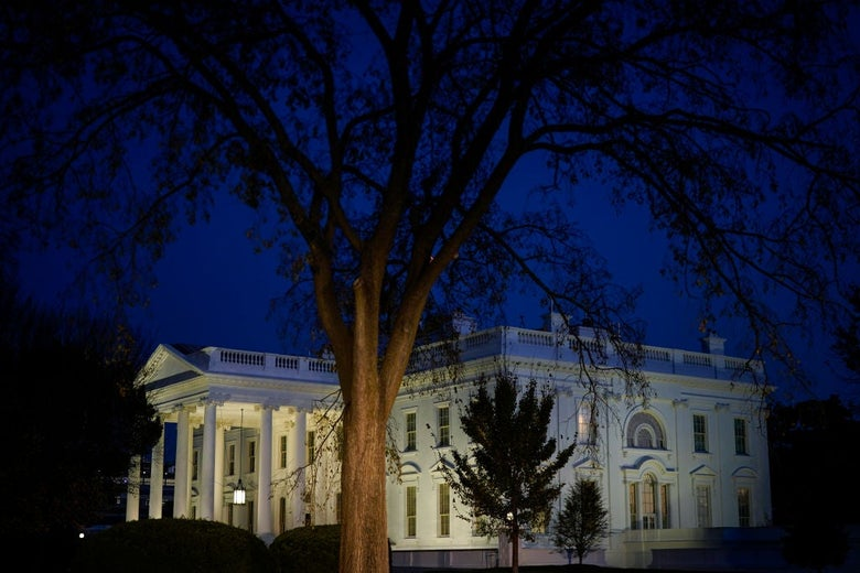 The White House seen illuminated at nightfall from an angle against a dark blue sky with a mostly bare tree in the foreground.