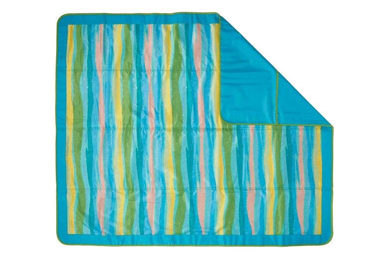 Striped picnic blanket.