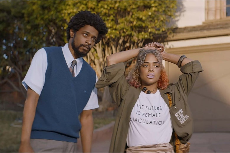 Lakeith Stanfield and Tessa Thompson in Sorry to Bother You.