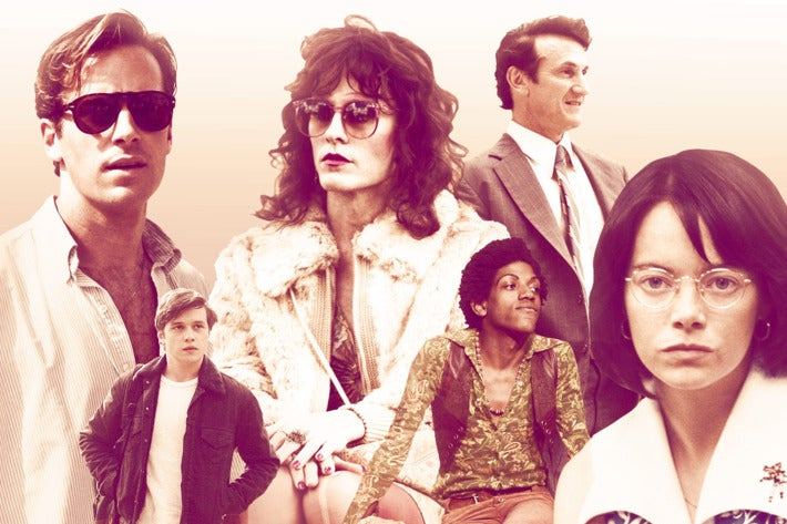 A collage of characters from modern queer cinema, with the entire image washed out to a sienna-pink tone.