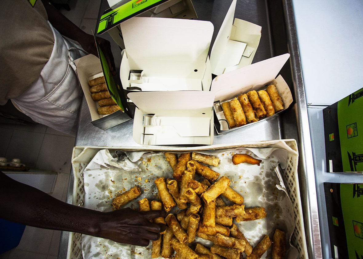 Fried spring rolls at Saveurs d'Asie, a takeout chain in Senegal run by the son of a Vietnamese immigrant.