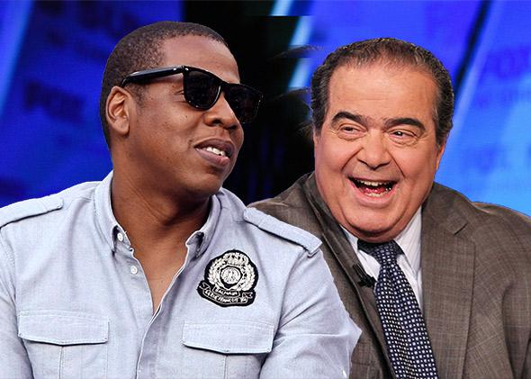 Jay-Z and U.S. Supreme Court Justice Antonin Scalia.