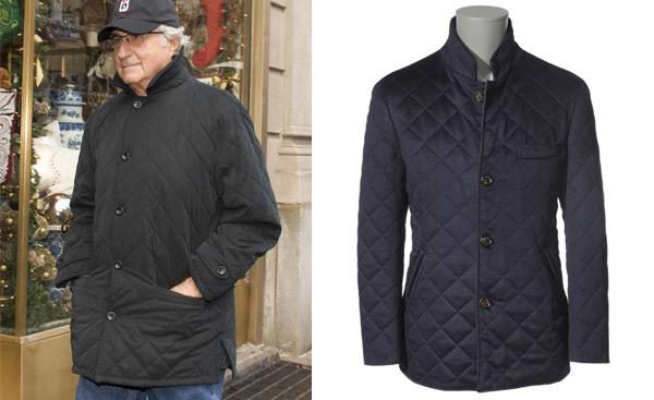 Bernie Maddof and a Brunello Cucinelli navy quilted jacket.