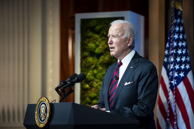 WASHINGTON, DC - APRIL 22: U.S. President Joe Biden delivers remarks during a virtual Leaders Summit on Climate with 40 world leaders at the East Room of the White House April 22, 2021 in Washington, DC. President pledged to cut greenhouse gas emissions by half by 2030. (Photo by Al Drago-Pool/Getty Images)