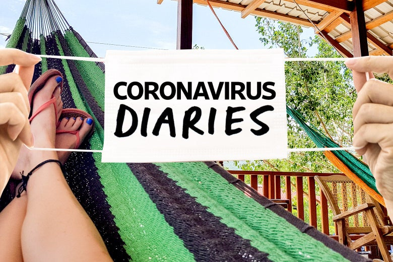 "Two hands holding a mask that says ""Coronavirus Diaries"" over an image of someone's legs and feet up on a hammock."