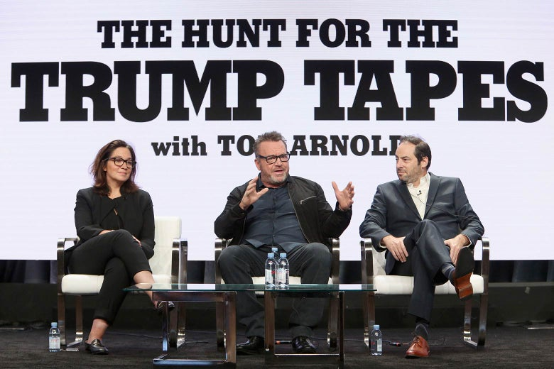 Viceland's Nomi Ernst Leidner, Tom Arnold, and executive producer Jonathan Karsh discuss The Hunt For The Trump Tapes during the 2018 Summer Television Critics Association Press Tour on July 26 in California.
