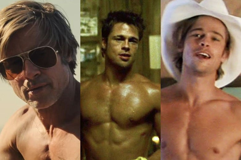 Triptych of Brad Pitt shirtless in Once Upon a Time in Hollywood, Fight Club, and Thelma and Louise.