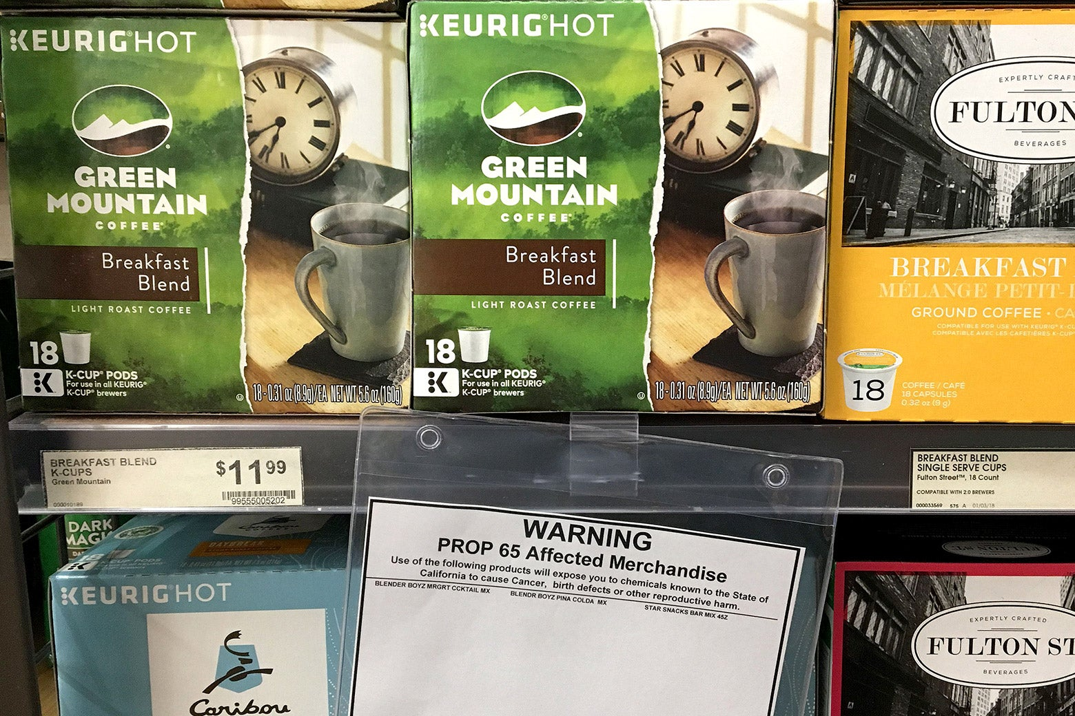 A health warning label for coffee is seen at a store in Los Angeles on May 8.
