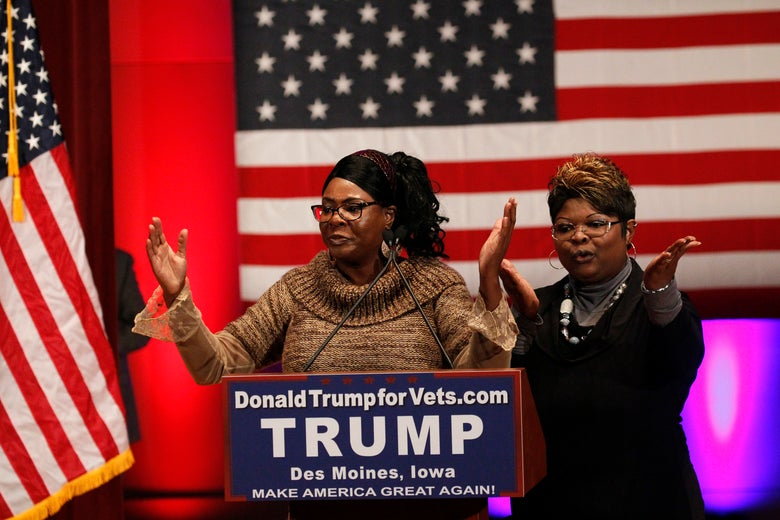 "STATESYoutube stars ""Diamond & Silk"" speak in support of Republican presidential candidate Donald Trump onstage beforeTrump's speech at a veterans rally in Des Moines, Iowa."