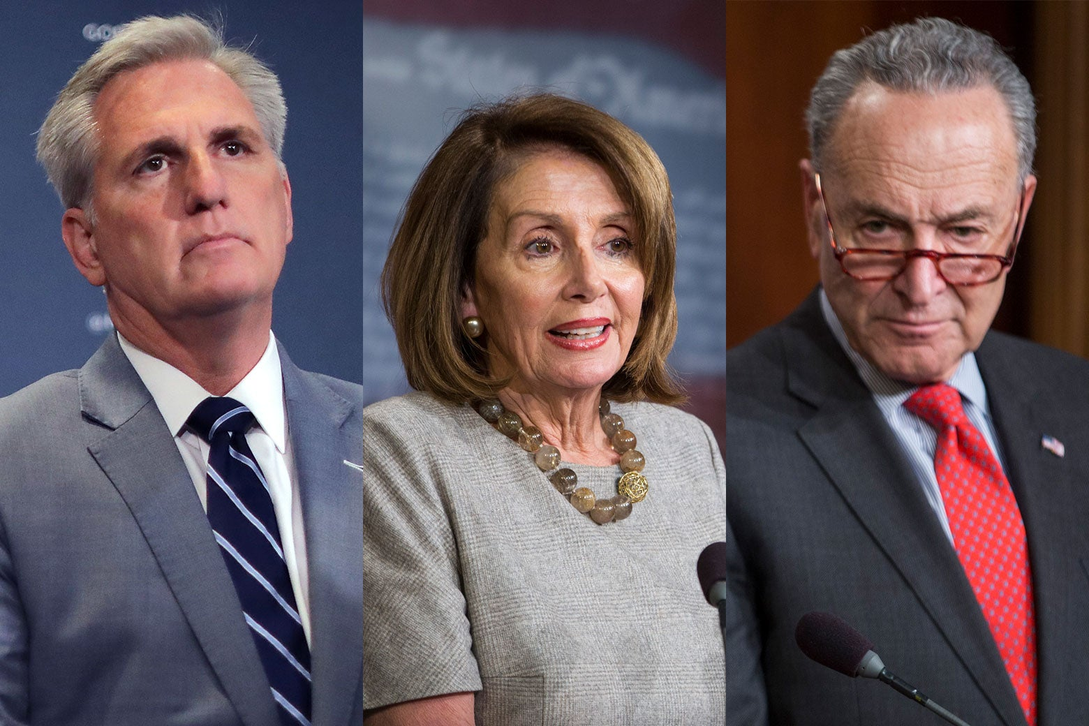 Side-by-side photos of House Minority Leader Kevin McCarthy, House Speaker Nancy Pelosi, Senate Minority Leader Chuck Schumer.