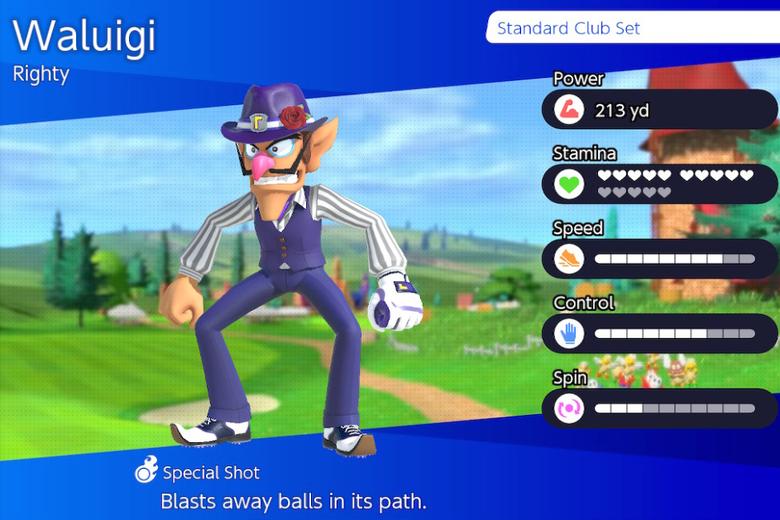 Waluigi character selection screen.