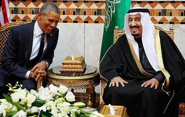 U.S. President Barack Obama meets with Saudi Arabia's King Salman.