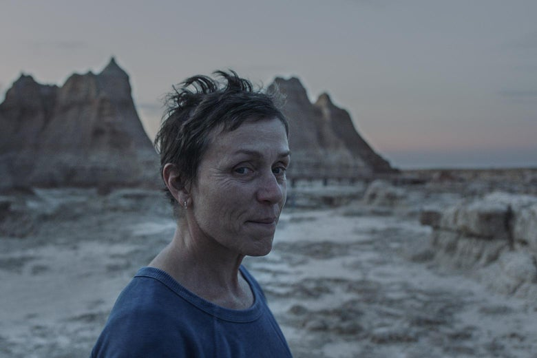 McDormand as Fern, smiling slightly as she stands in a desert landscape at sunset