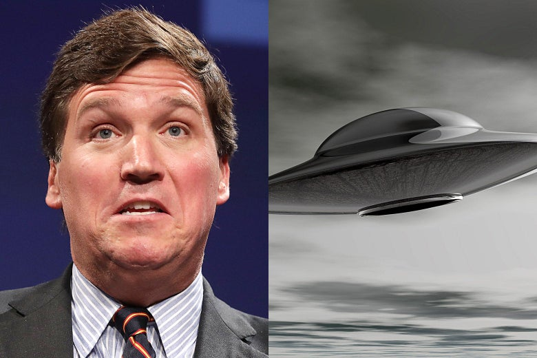 Tucker Carlson and a flying saucer.