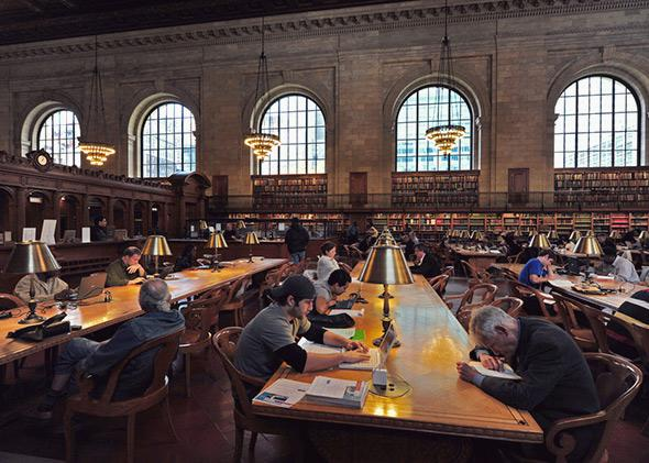 Students studying at the New York Public Library.