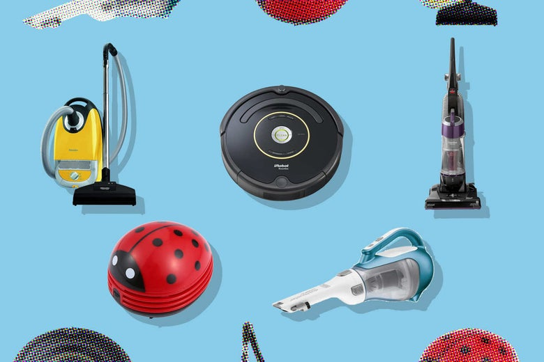 Collage of various vacuum cleaners.