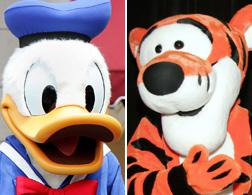 Donald Duck, left, and Tigger.