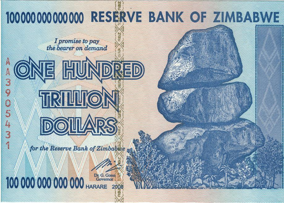 Zimbabwe S Old One Hundred Trillion Dollar Note With The Balancing Rocks