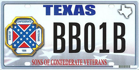 The design of a proposed Sons of Confederate Veterans Texas state license plate