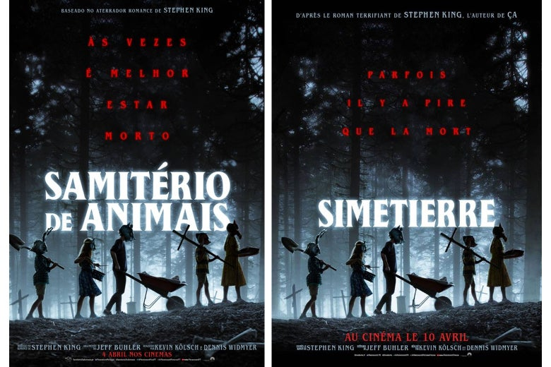 The Pet Sematary movie posters in Portuguese and French.