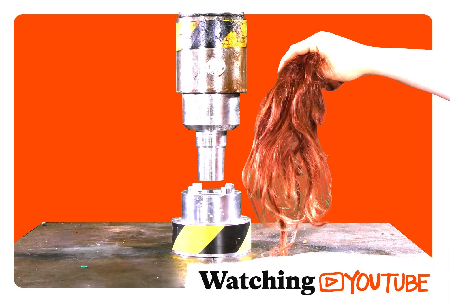 Photo illustration: a still from the Hydraulic Press YouTube channel with the Watching YouTube logo superimposed.