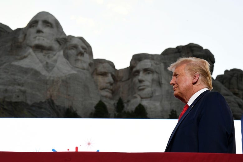 President Donald Trump arrives for the Independence Day events at Mount Rushmore National Memorial in Keystone, South Dakota, July 3, 2020.