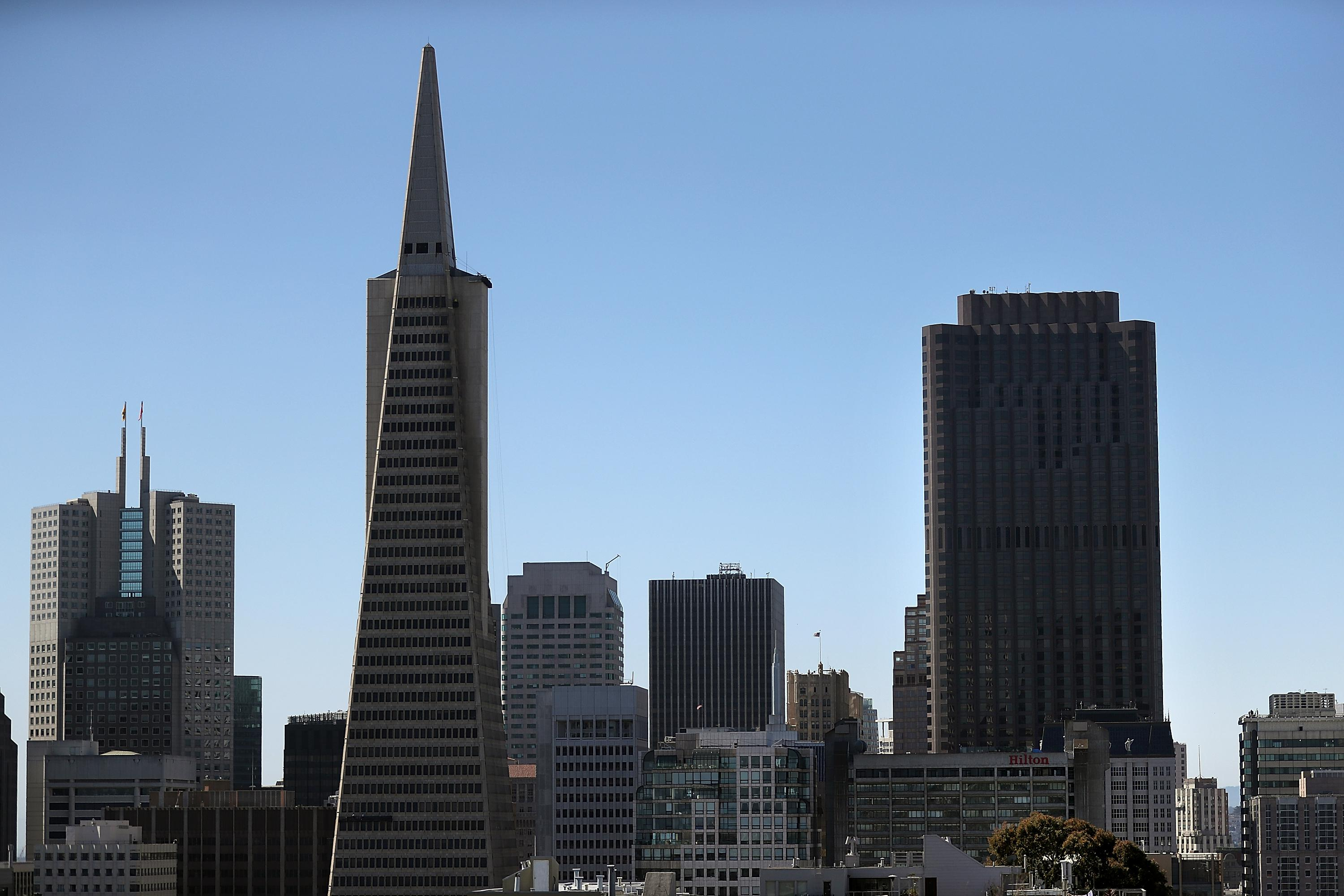 SAN FRANCISCO, CA - JUNE 28:  A view of the Transamerica Pyramid (L) and 555 California (R) on June 28, 2016 in San Francisco, California. A new video that allegedly supports ISIL has emerged on the internet shows San Francisco's iconic Golden Gate Bridge as well as the office building at 555 California.  (Photo by Justin Sullivan/Getty Images)