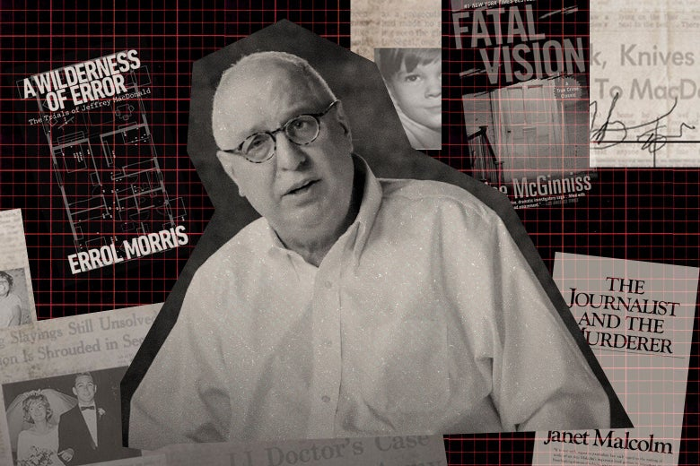 Errol Morris, surrounded by copies of A Wilderness of Error, Fatal Vision, and The Journalist and the Murderer, along with a newspaper and other photos and documents.