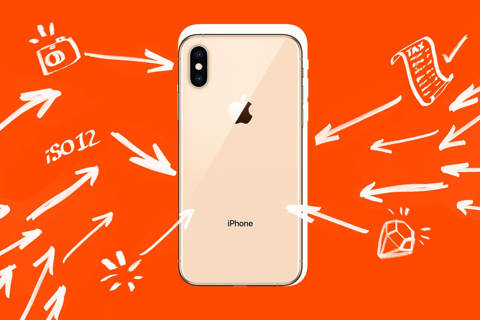 Photo illustration of an iPhone XS with arrows pointing toward and away from it.