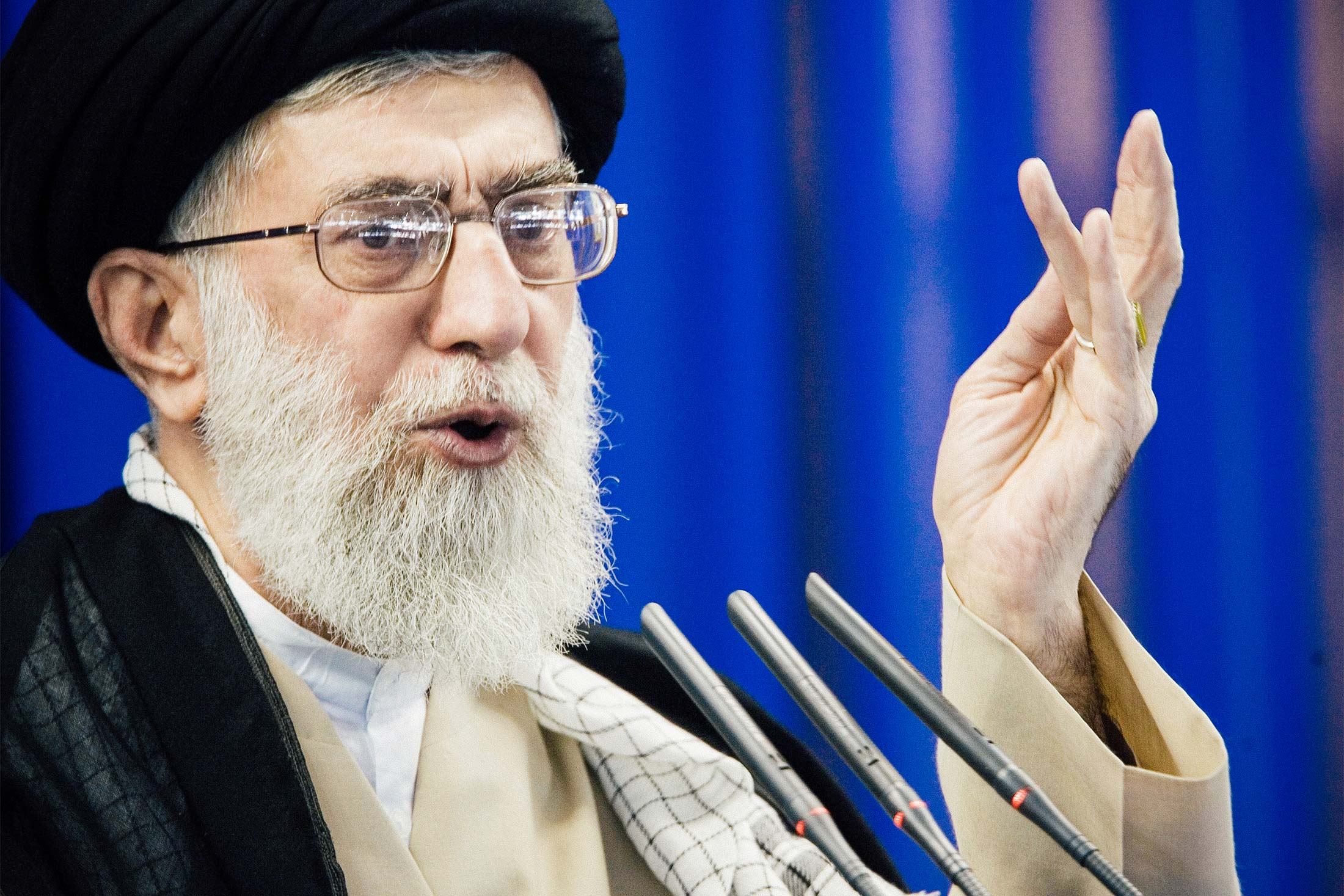 Ayatollah Ali Khamenei speaks during Friday prayers in Tehran on Sept. 14, 2007.