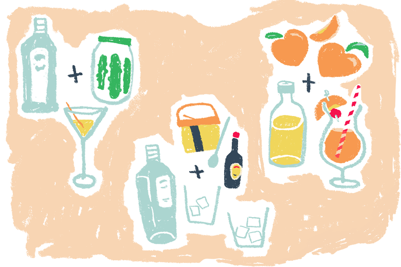 Collage of cocktail glasses and ingredients
