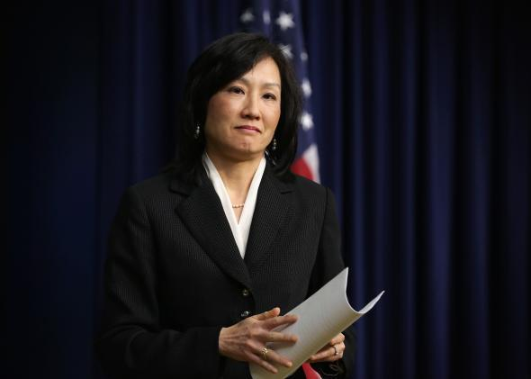 Deputy Director of the Patent and Trademark Office Michelle Lee speaks at an event on the patent system on Feb. 20, 2014, at the Eisenhower Executive Office Building in Washington, DC.
