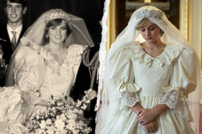 Princess Diana in her wedding dress, and Emma Corrin as Diana in The Crown