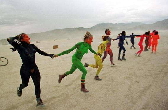 Joyous attendess at an early Burning Man in 1998.