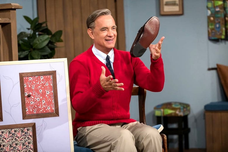 Tom Hanks as Fred Rogers one day in the neighborhood.