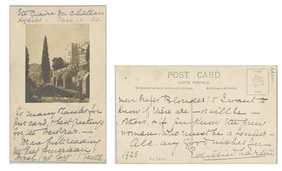 Postcard from Edith Wharton to Frank Crowninshield, 12 January 1926.