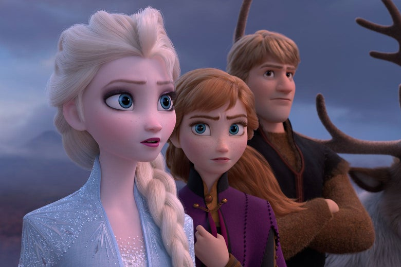 Elsa, Anna, and Kristoff in Frozen 2.