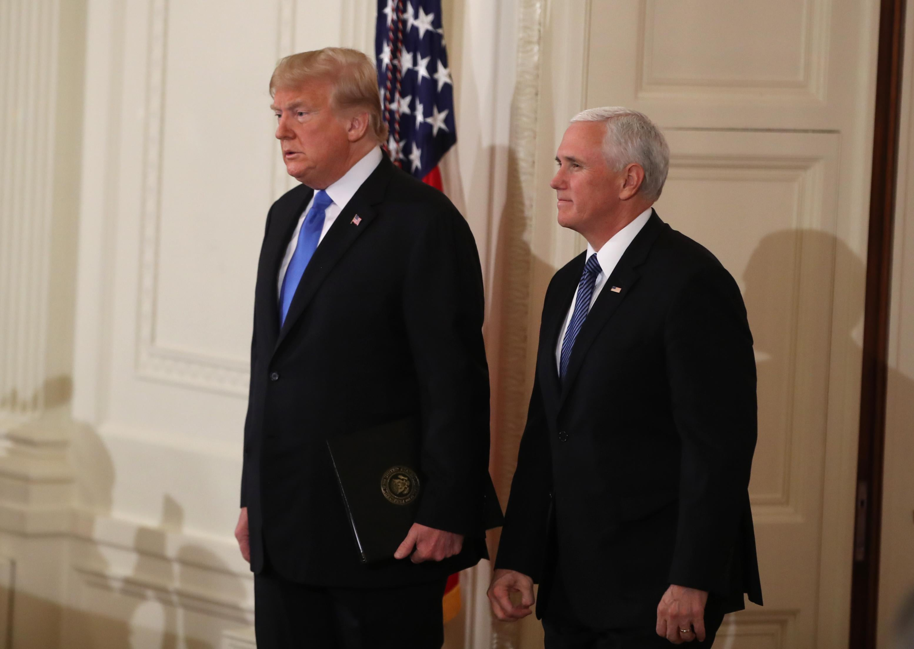 President Trump with Vice President Pence in the East Room of the White House.