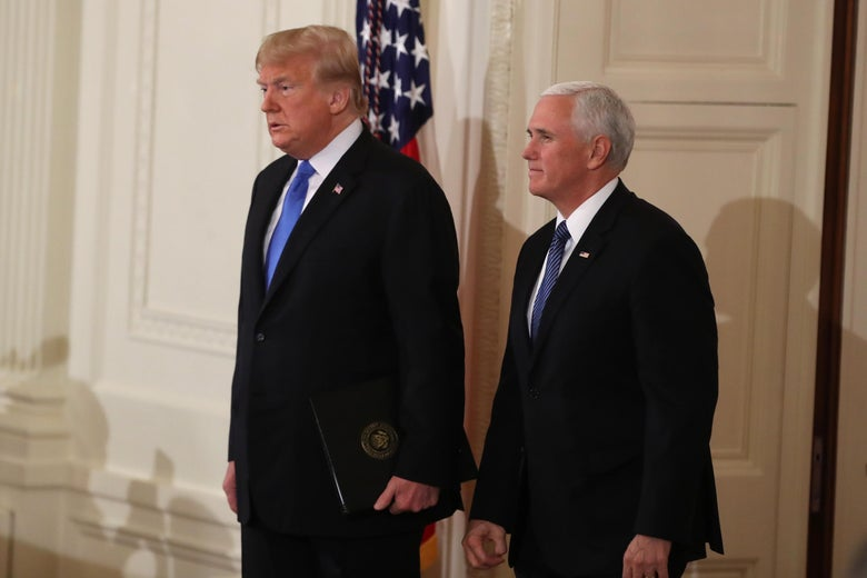 "President Trump with Vice President Pence in the East Room of the White House. ""Srcset ="" https://compote.slate.com/images/d4039898-8423-467d-8141-a41244ab8f18.jpeg?width=780&height=520&rect=3108x2072&offset = 0x71 1x, https://compote.slate.com/images/d4039898-8423-467d-8141-a41244ab8f18.jpeg?width=780&height=520&rect=3108x2072&offset=0x71 2x"
